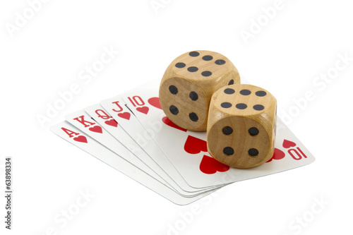 Royal Flush in Hearts with Two Wooden Dice
