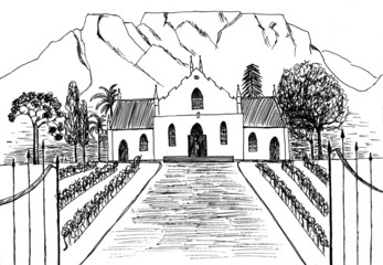 Vineyard in colonial style drawing