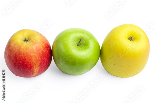 Fresh ripe apples on a white background