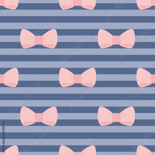 Tile vector pattern pastel pink bows navy blue strips background