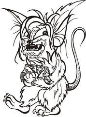 Rat with money - cartoon