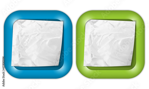 set of two icons with crumpled blank paper