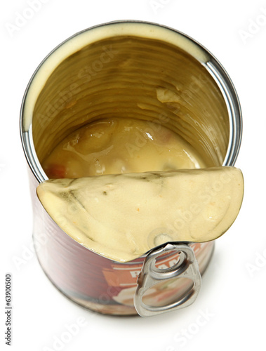Half Empty Open Can of Potato Dumpling Soup