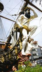 Mascarón de proa en un barco pirata, Génova, Italia