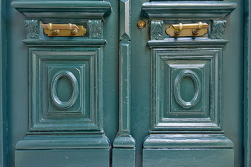 vintage house green door detail, Athens Greece