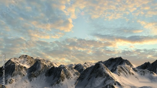 Mountains in sunset - camera slide