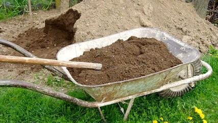 Takeaway soil in hand wheelbarrow in garden