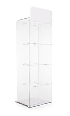 acrylic plexi stand for shop isolated on white