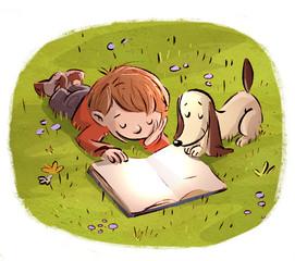 niño con perro leyendo