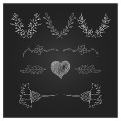Hand Drawn Laurels, wreath and design elements