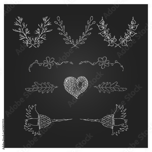 Hand Drawn Laurels, wreath and design elements