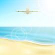 Plane over ocean