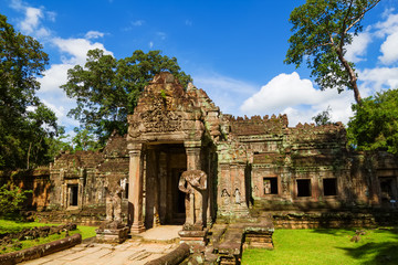 Ancient Preah Khan temple entrance, Cambodia