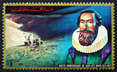 Postage stamp Ajman 1972 Johannes Kepler, German Mathematician