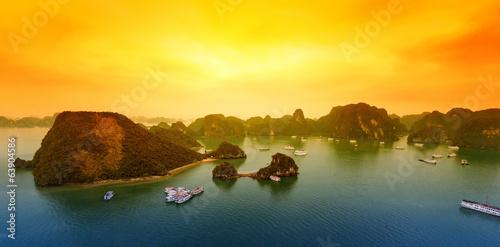 Vietnam Halong Bay beautiful sunset landscape background - 63904586