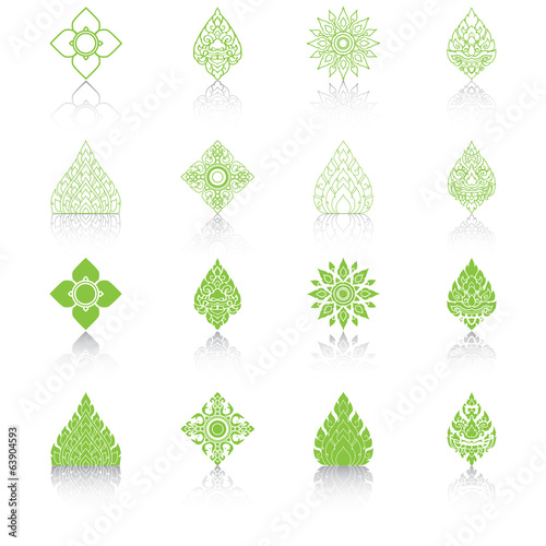 Set of Line Thai Art, Icons Vector Illustration.