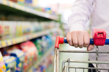 closeup on man or woman in shop with shopping trolley
