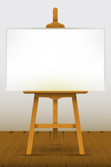 Easel with a blank canvas on a wooden floor