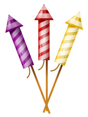 Three colorful fireworks rocket