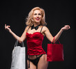 Beauty Sexy Woman with Shopping Bags