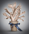 Surreal artistic illustration with hand-tree