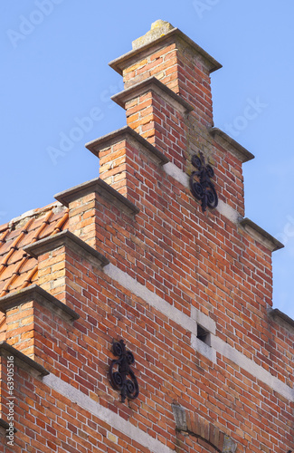 close up traditional brickwork Bruges