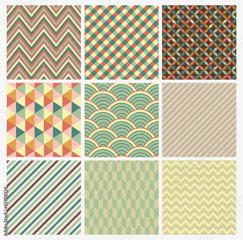 Seamless geometric hipster background set.