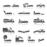 Black and white car crash icons - 63906533