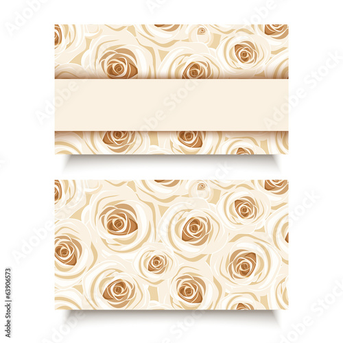 Business card with white roses. Vector EPS-10.