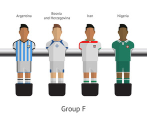 Table football, soccer players. Group F
