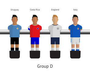 Table football, soccer players. Group D
