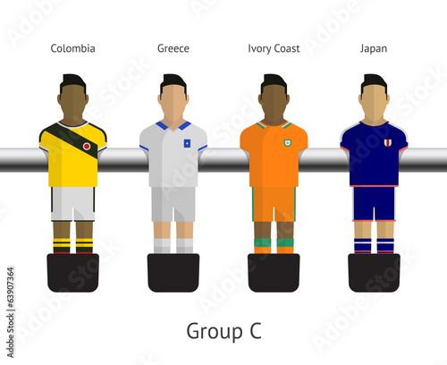 Table football, soccer players. Group C