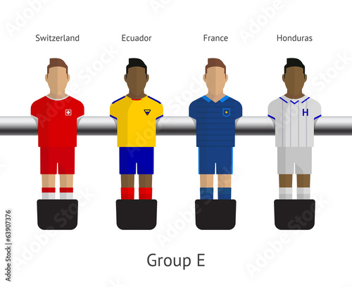 Table football, soccer players. Group E