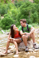Hiking people - hiker couple happy in Zion Park