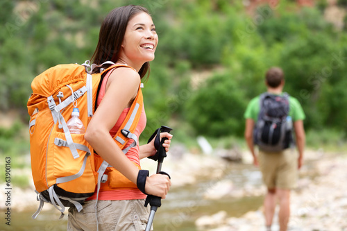 People hiking - woman hiker walking in Zion Park