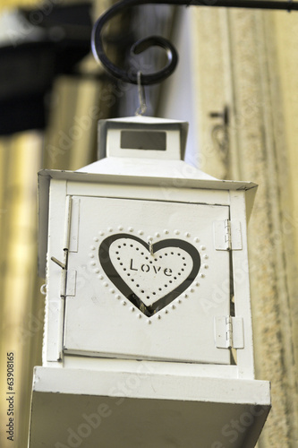 Heart shape decorated lamp color image
