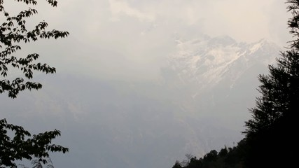 Movement of the clouds on the mountains, Himalayas, Nepal