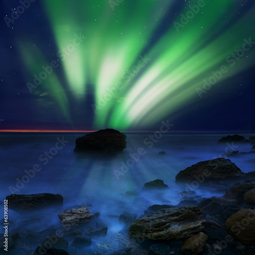 aurora borealis over the sea