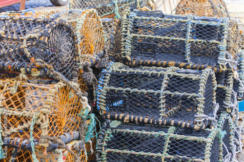 Stacked lobster pots close up
