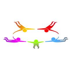 Monigotes paracaidistas uniéndose