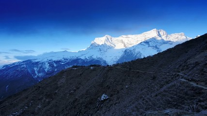 Timelapse sunrise in the mountains Kongde Ri (6187M), Himalayas