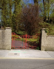 red gate and garden