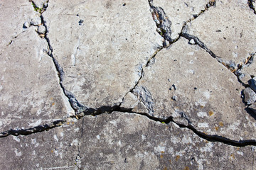 Cracked concrete surface
