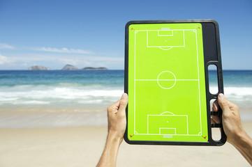Hands Holding Football Tactics Board Rio Beach Brazil