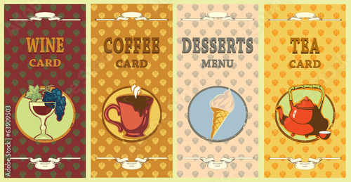 desserts  menu,coffe card,wine card and tea card