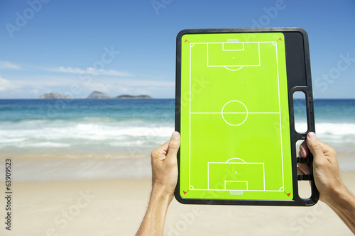 Hands Holding Football Tactics Board Rio Beach Brazil