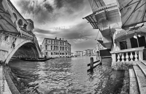 Venice, Italy. Fisheye view of Rialto Bridge on a cloudy day