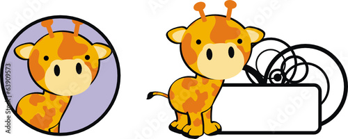 giraffe baby cartoon copyspace vector