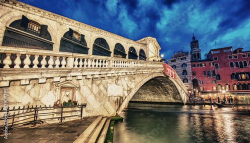 Beautiful sunset view of Rialto Bridge in Venice