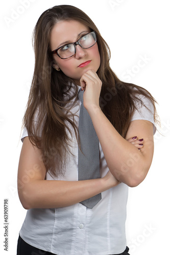 Thoughtful businesswoman with glasses